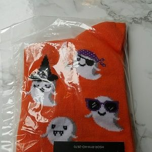 Hot Sox Accessories - Orange Halloween White Ghost Socks by Hot Sox